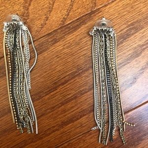 Stella & Dot Bowie Fringe Earrings, Mixed Metals